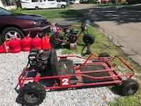 red and black dune buggy
