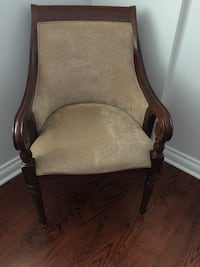 Brown wooden frame gray padded armchair Toronto, M3K 1H2