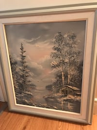 Vintage winter cottage theme painting - 24x36""