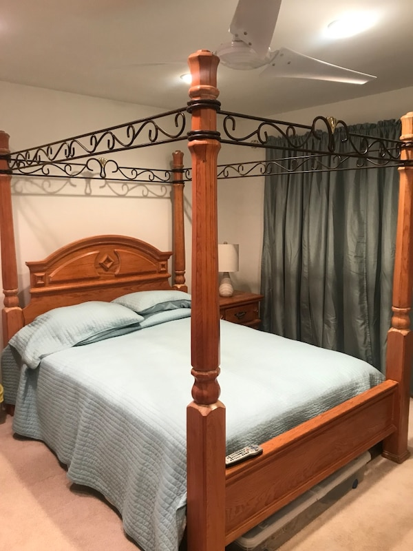 Beautiful Queen Size Canopy Bedroom Set 2 Nightstands Dresser With Mirror And Armoire With Space For Tv Within The Armoire Great Condition 475