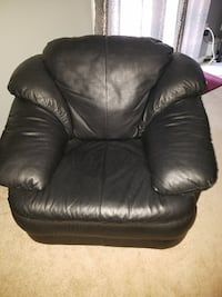 Black Italian Leather sofa chair
