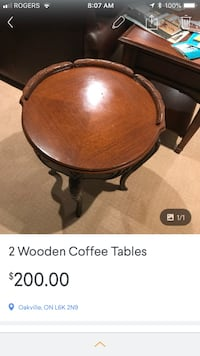 brown wooden round side table Hamilton, L8L
