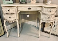White and gold carved wood french provincial desk vanity Derwood