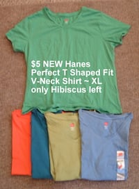 NEW Hibiscus Hanes Perfect Fit V-Neck Tee XL Martinsburg, WV, USA