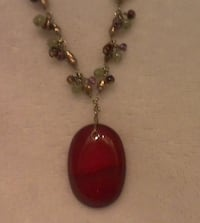 Vintage Monet beaded necklace with amber colored stone pendent Las Vegas