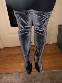 Long Knee Boots Gray