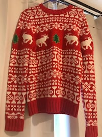 red and white reindeer print Christmas  sweater