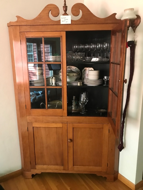 1800s Cherry Corner China Cupboard Raised By Antiques Dealer At 4 000