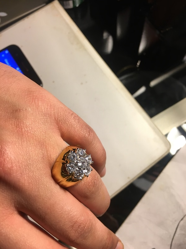 14k plated Gold ring, cubic zirconias