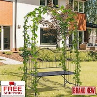 NEW Outdoor Garden Arbor Arch Steel Metal with Bench Seat Lounge Chair For Backyard Garden Decor Hom