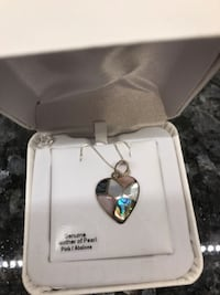 Mother of Pearl heart necklace with silver chain