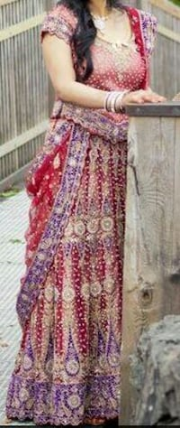 Red Bridal Lehenga with Purple and Gold  Vancouver, V5V 4G3