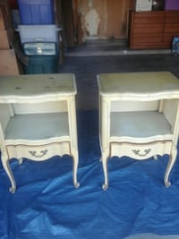 two white wooden side tables Orange, 92867