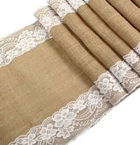 """Burlap Table Runner with White Lace for a Wedding Reception or Rustic Decoration for a Bridal or Baby Shower, 12"""" x 108"""" Long by Jolly Jon Products"""