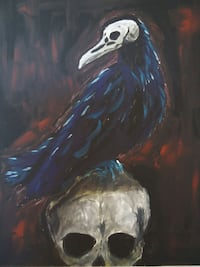 Art: Skull and crow painting