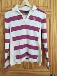 Tommy Hilfiger White and pink stripe polo shirt size medium  Montréal, H3H