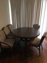 Round brown wooden table with 5 chairs dining set Austin