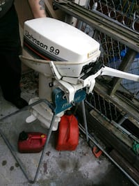 white Johnson 9.9 outboard motor Pittsburgh, 15212