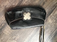 women's black leather clutch bag