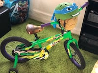 Ninja turtle kids bike with helmet used no more than 5 times  New York, 10466