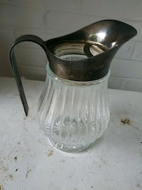 Silver plate and glass water pitcher