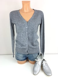Passion Feinstrick Pullover Cardigan Gr. S/36 Grau