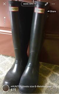 •HUNTER•boots size 6-Retailed over 200$ these are used but loved lots of life left (buckles have been permanently removed by hubby hated the sticking out strap ha;)they come from clean smoke free home London, N5W 1C7