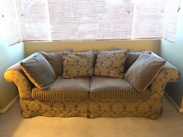 Sofa - Green and Olive floral fabric - Fauteuil