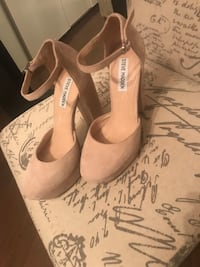 pair of beige suede ankle strap heeled sandals Toronto, M9C 3Z4