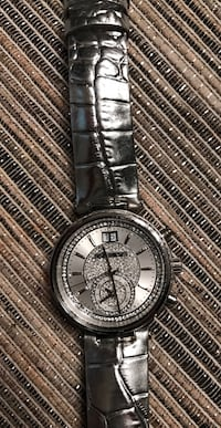Round silver-colored analog watch with link bracelet Wichita, 67217
