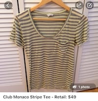 women's white and black stripe blouse Toronto