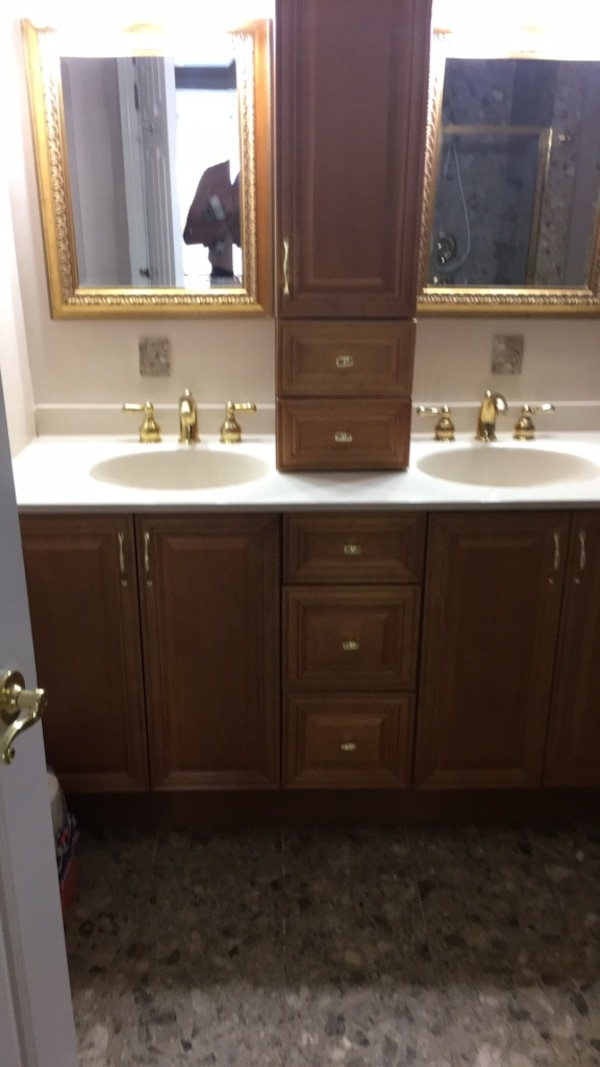 Used Bathroom Vanity 61 wide x 21 1/2 deep with Brass fixtures for sale in New York - letgo