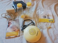 Medela Electric breastfeeding pump ($50) - Medela 3 Nipple Shield ($5)- Breast milk 25 bags ($5)  - 20 Avent Breast pads ($4) - Avent bottle Warmer ($25). All Items are in very good condition like new as my baby was on formula.