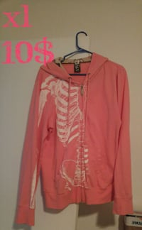 pink and white skeleton-printed zip-up hoodie Québec, G1C 7B6