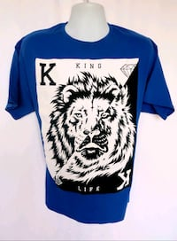 HAYMAKER Mens Blue & White KING CARD LION Graphic T Shirt Size XL Palmdale, 93551