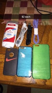 several iPhone cases and 8-pin to UAB cables