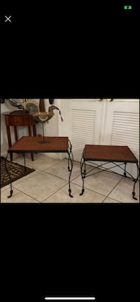 Wicker And Metal Side Tables SET (2)