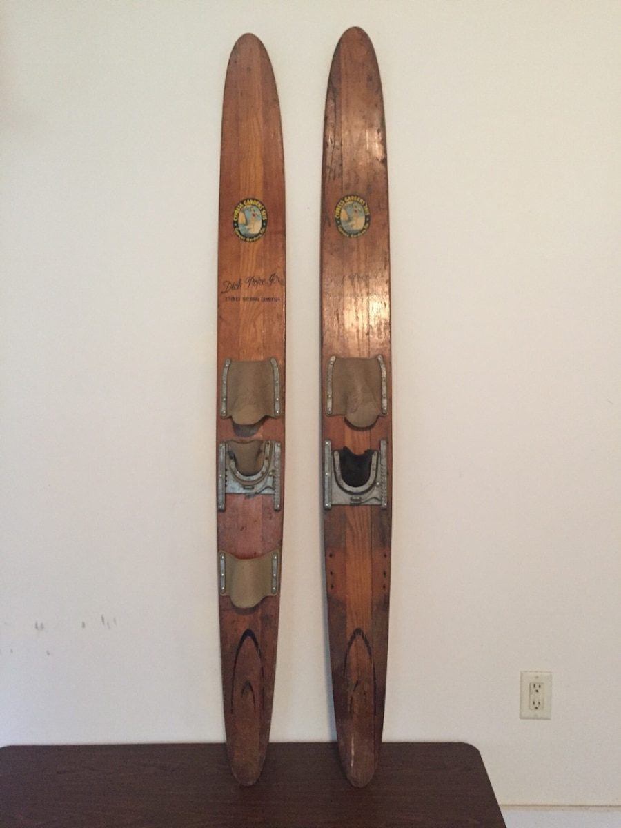 Vintage 1950's Cypress Gardens Dick Pope Jr. Water Skis  Excellent for Display or Man cave