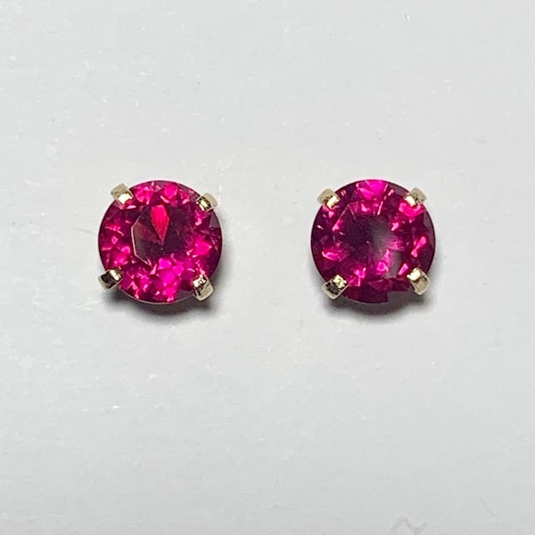 Genuine 14k Yellow Gold Ruby Stud Earrings 223f52e7-65db-4b7b-955b-9b3a2a00c30e