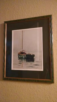 17x21 framed, double-matted, numbered watercolor Sailboat print