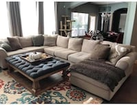 Beige Linen Ashley Wilcot Sectional Sofa with Throw Pillows Missouri City