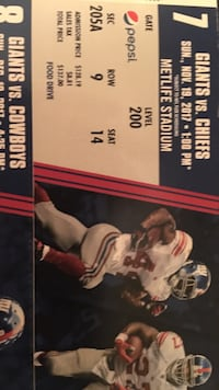 Giants VS Chiefs admission ticket. Have 3 tickets need to sell. $125 each.