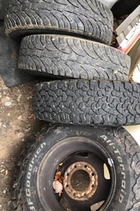 Tires all 4 good no holes on 8 lug dodge wheels Mount Airy, 21771