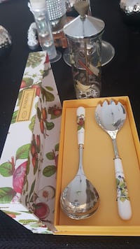 Salad cutlery and dressing container. Brand new .