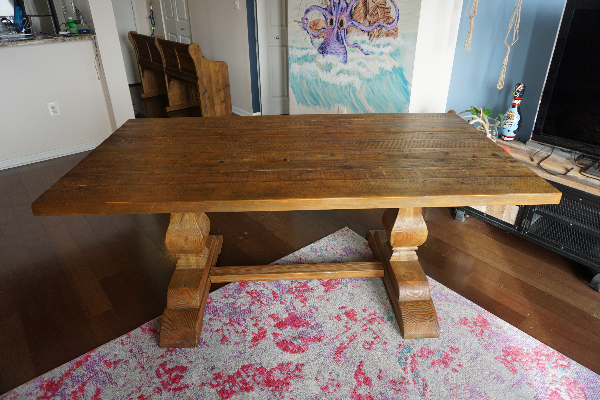 Arhaus solid wood dining table and bench f4c6d2ca-a73e-408d-ab8c-9fe5300e8d5c