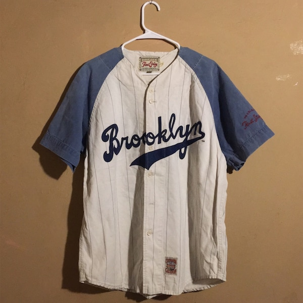 ff9aa697fcc Used Vintage 80 s Mirage Cooperstown Brooklyn Dodgers Striped Jersey ...