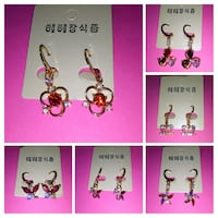 six pairs of earrings collage