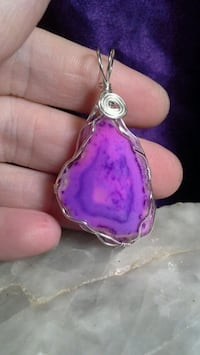 Silver Plated Wirerapped Purple Pink Geode Pendant 1620 mi