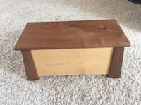 """I made this box, want something special made to your design. I made thisPine/Walnut keepsake box 7""""x6.5""""x14"""" approx. brass hinges. Make me an offer! Bloomington, 55420"""