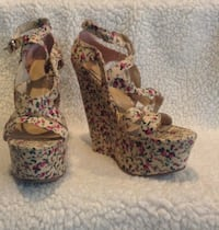 Forever 21 floral strappy wedges  1361 mi